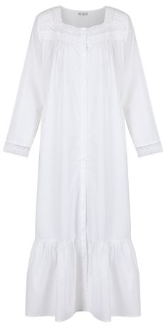 The 1 for U 100% Cotton Vintage Design Nightgown   Housecoat - Grace - White 225dac15f