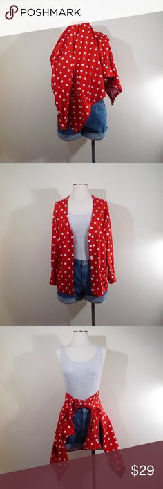 Minnie Mouse Polka Dot Cotton Cardigan Super cute cardigan. Nice and lightweight material. Pockets on front. Condition is great. Red is so hard to find when you're looking for it. This one is so fun with the polka dots.  Would fit an XS - Medium.  Of course, for an XS it will run a little large. And more snug on a Medium.  If you'd like more measurements, like the shoulders just let me know before you buy.  As my size references are an opinion.  Most things I sell are meant to be worn loose…