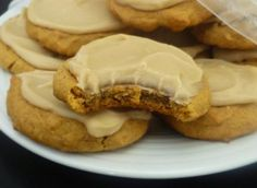 PUMPKIN CARAMEL COOKIES cookies 1 cup butter, softened 1/2 cup sugar 1/2 cup brown sugar 1 cup canned pumpkin 1 egg 1 tsp vanilla 2 cups unbleached all purpose flour 1 tsp baking soda 1 tbsp cinnamon 1 tsp pumpkin pie spice 1/2 tsp salt  For the Frosting: 3 tbsp butter 1/4 cup heavy cream 1/2 cup brown sugar 1 cup powdered (confectioners) sugar 1 tsp vanilla