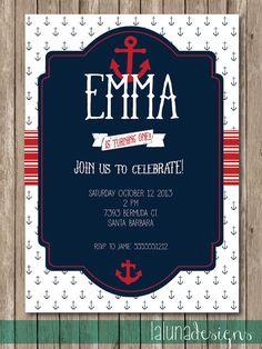 Nautical First Birthday Invitation Birthdays Etsy and Birthday
