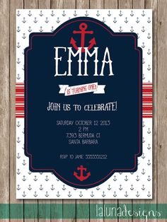 Nautical Invite - Birthday or Baby Shower
