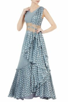 Shop Shruti Ranka - Blue waterfall drape anarkali Latest Collection Available at Aza Fashions Lehenga Designs, Saree Blouse Designs, Indian Designer Outfits, Designer Dresses, Latest Gown Design, Stylish Dresses, Fashion Dresses, Heavy Dresses, Indian Gowns Dresses