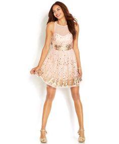 Crystal Doll Juniors Dress, Sleeveless Mesh Paillettes   macys.com