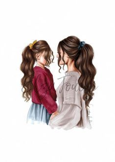 Mothers day mother and daughter mom and daughter mothers day gift girls room mum. - Mothers day mother and daughter mom and daughter mothers day gift girls room mum and daughter fashi - Mother And Daughter Drawing, Mother Art, Mom Daughter, Mother And Child, Best Friend Drawings, Girly Drawings, Sitting Girl, Girly M, Illustration Mode