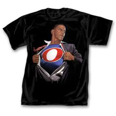 President Barack Obama Superman Mens T-Shirt Makes a lot of sense it was designed by a comic book artist.