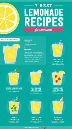 Smoothie Recipes Take it easy this summer with simple, flavorful lemonade recipes - Try something new this summer to quench your thirst. These are some of the best lemonade recipes for summer that you'll be sure to enjoy. Good Lemonade Recipe, Flavored Lemonade, Best Lemonade, Homemade Lemonade Recipes, Healthy Lemonade, Pineapple Lemonade, Watermelon Lemonade, Homemade Lemonade Recipe With Lemon Juice, Chickfila Lemonade Recipe