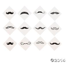 Mustache Party Fingerstache Temporary Tattoos | 36ct