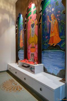 Pooja Room Door Design, Home Room Design, Home Interior Design, Living Room Designs, House Design, Traditional Tile, Traditional Paintings, Traditional Furniture, Mandir Design