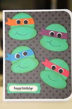 The stampin b birthday cards cards pinterest birthdays teenage mutant ninja turtle birthday card or invitation bookmarktalkfo Images