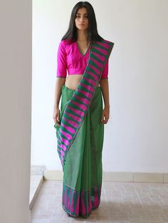 Green Fuchsia Pink Bronze Afnan Chanderi & Zari #Saree By Raw Mango. Available Online At Jaypore.com.