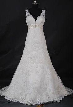 White Wedding Dress Lace Wedding Dress  with Straps by LOVEBO0507, $199.00