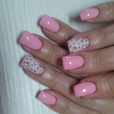 Image via Beautiful pink nail art designs. Image via Pink glitter and zebra nails! Image via Pale Pink with small white heart - OMG I use to not care for things if they were to gi Get Nails, Fancy Nails, Love Nails, Fabulous Nails, Gorgeous Nails, Pretty Nails, Pink Nail Art, Pink Nails, Pink Shellac