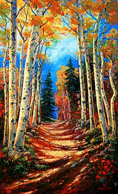 """Autumn's Hymn"" Original Oil Painting 60 x 36 v Gallery Wrap painted edges $9800. Available as a Fine Art Giclee Limited Original Hand Embellished by the Artists. Custom sizes and commissioned originals also available."