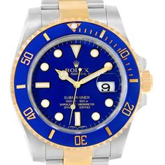 b6e6ae2ad0d 17635 Rolex Submariner Blue Dial Steel Yellow Gold Watch 116613 Box Papers  SwissWatchExpo Skeleton Watches