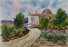 Ermita. Vall de Uixó Acuarela 25x35 cm