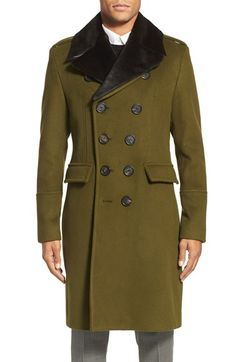 Burberry London 'Elmford' Double Breasted Wool Blend Top Coat with Detachable Genuine Rabbit Fur Trim