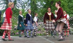 2nd from right - kilt with burgundy jacket & gold trim #macbean #burgundy #tartan