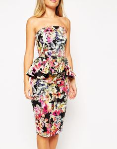 Image 3 of ASOS Dark Floral Bandeau Dress With Peplum