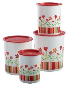 Red Hearts and Flowers Canister Set