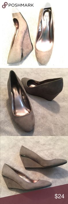 """🆕 🎉HP 11/23/16🎉 Suede Wedges EUC.  2.5"""" greyish-brownish suede wedges.  Re-posh, didn't fit.  Only noticeable wear is on soles, which is minor. Massini Shoes Wedges"""