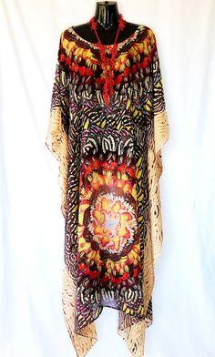 Feathers Pure Silk Full Length Kaftan by MollyKaftans on Etsy, $159.00