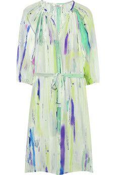 Belted printed silk-habotai dress