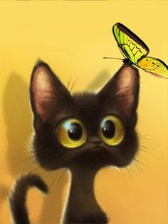 Cat And Butterfly. Love Those Big Eyes.  Pinned via COUNTRYMOM