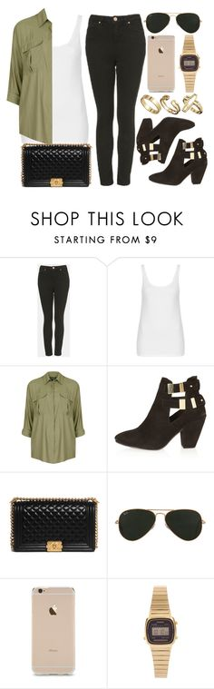 """""""Style #9009"""" by vany-alvarado ❤ liked on Polyvore featuring Topshop, Chanel, Ray-Ban, Casio, Pull&Bear, women's clothing, women, female, woman and misses"""
