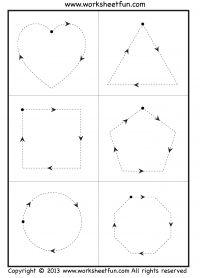 Tracing Shapes - 6 worksheets - FREE PRINTABLE WORKSHEETS