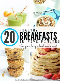 Busy school mornings means fast breakfast ideas and this awesome list of 20 healthy breakfast options for school is perfect Simple recipes ready in less than 5 minutes an. Fast Healthy Breakfast, Breakfast Low Carb, Fast Healthy Meals, Make Ahead Breakfast, Easy Meals, Fast Breakfast Ideas, Healthy Recipes, Healthy Breakfasts, Breakfast Fruit