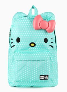 Mint colored 3D Hello Kitty backpack with white polka dots - a supercute take on an everyday item