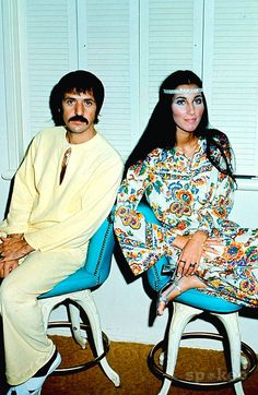 Hippies, Sonny and Cher, circa late 1960's.