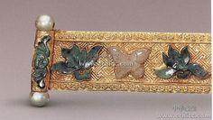 Engraved gold inlaid Tourmaline emerald beads