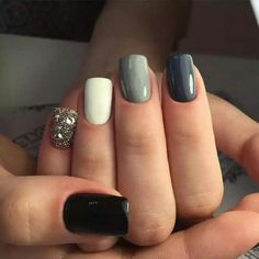 Black white grey with glitter accent nail.
