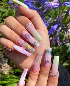Amazon.com: acrylic nails - Free Shipping by Amazon / Prime Eligible / Today's Deals #nailideas #nailart Acrylic Nails Coffin Pink, Summer Acrylic Nails, Drip Nails, Acylic Nails, Cute Acrylic Nail Designs, Butterfly Nail, Glam Nails, Stylish Nails, Pretty Nails