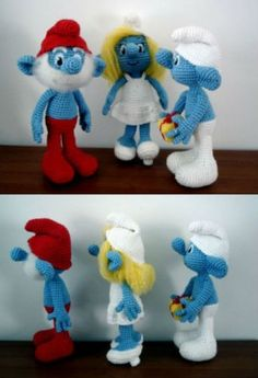 Crochet Smurfs. These are just too cute!