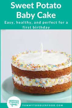 Healthy Sweet Potato Cake Recipe. With an easy stir-together method and a naturally sweet flavor, this delicious Sweet Potato Cake is perfect for a baby's first birthday—or for an easy holiday dessert for the whole family! Perfect with cream cheese frosting! #HealthyCakeRecipes #SmashCake #BirthdayCake #SweetPotatoCake Birhday Cake, Cake With Cream Cheese, Cinnamon Cream Cheese Frosting, Easy Holiday Desserts, Healthy Cake Recipes, Potato Cakes, Sweet Potato, Toddler Food, Toddler Meals