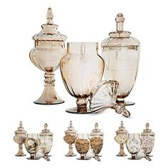 Set of 3 Gold Apothecary Jars - with Lids on Pedestal Stand ~ Elegant Centerpiece for Party and Candy Buffet, Countertop and Vanity Décor, Decorative Glass Jars (Clear Glass, Goldish Copper Color) Glass Apothecary Jars, Glass Jars, Clear Glass, Elegant Centerpieces, Jar Centerpieces, Vases, Pedestal Stand, Diy Terrasse, World Decor