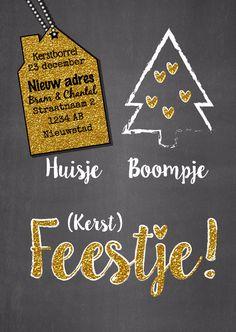 Huisje boompje feestje glitter, verkrijgbaar bij #kaartje2go voor €1,89