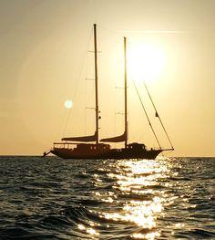 Sunset Silhouette of Satori Luxury Sailing Charter Yacht: Starboard.