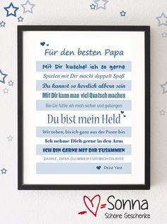 PDF *Papa * Für den besten Papa * Papi * Bester Papa * Vatertag * PDF Here I offer you a PDF, which you can print out yourself and which your child can then give away to Dad! * A very individual gift Diy Gifts For Men, Diy Father's Day Gifts, Father's Day Diy, Gifts For Boys, Gifts For Family, Fathers Day Gifts, Dad Gifts, Fathers Day Decorations, Gifts For Coworkers