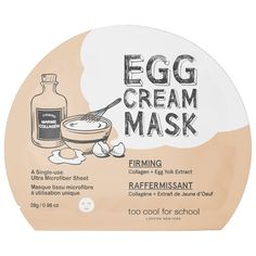 Shop Too Cool For School's Egg Cream Mask Firming at Sephora. This sheet mask is infused with collagen and egg extracts to firm the appearance of skin.