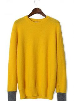Yellow Classic Sweater with Grey Cuffs,  Sweater, classic sweater  bright yellow, Casual