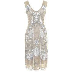 """Unique Vintage 1920s """"The Bosley"""" Silver Beaded Flapper Dress (480 AUD) ❤ liked on Polyvore featuring dresses, vintage style cocktail dresses, vintage cocktail dress, formal dresses, white slip and vintage beaded dress"""