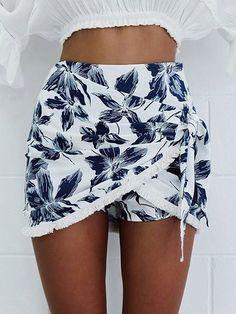 White Flower Print Fringe Trim Wrap Skirt