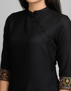 Wool Plain Kashmiri Embroidery Mini Kurta-Black: Buy Fabindia Wool Plain Kashmiri Embroidery Mini Kurta-Black Online. Worldwide free shipping* – Fabindia.com