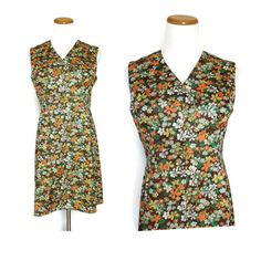 60s Mini Dress / Mod Mini Dress / Floral Mini Dress / Hippie Mini Dress / Flower Power Dress / 70s Mini Dress / Mod Floral Dress by GoodLuxeVintage on Etsy
