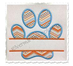 $2.95Split Applique Paw Print Machine Embroidery Design  (Straight Version)