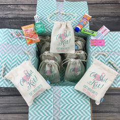 Hangover oh shit kits are def a must have for any wedding or bachelorette party! We have tons of designs to choose from for your event and best part is we'll fill your bags with your choice of hangover kit fillers and your bags will arrive ready to gift!