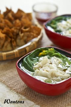 Silky smooth Wontons in clear chicken broth are great as a starter or appetizer. They can also be deep fried to perfection as finger foods. | RotiNRice.com